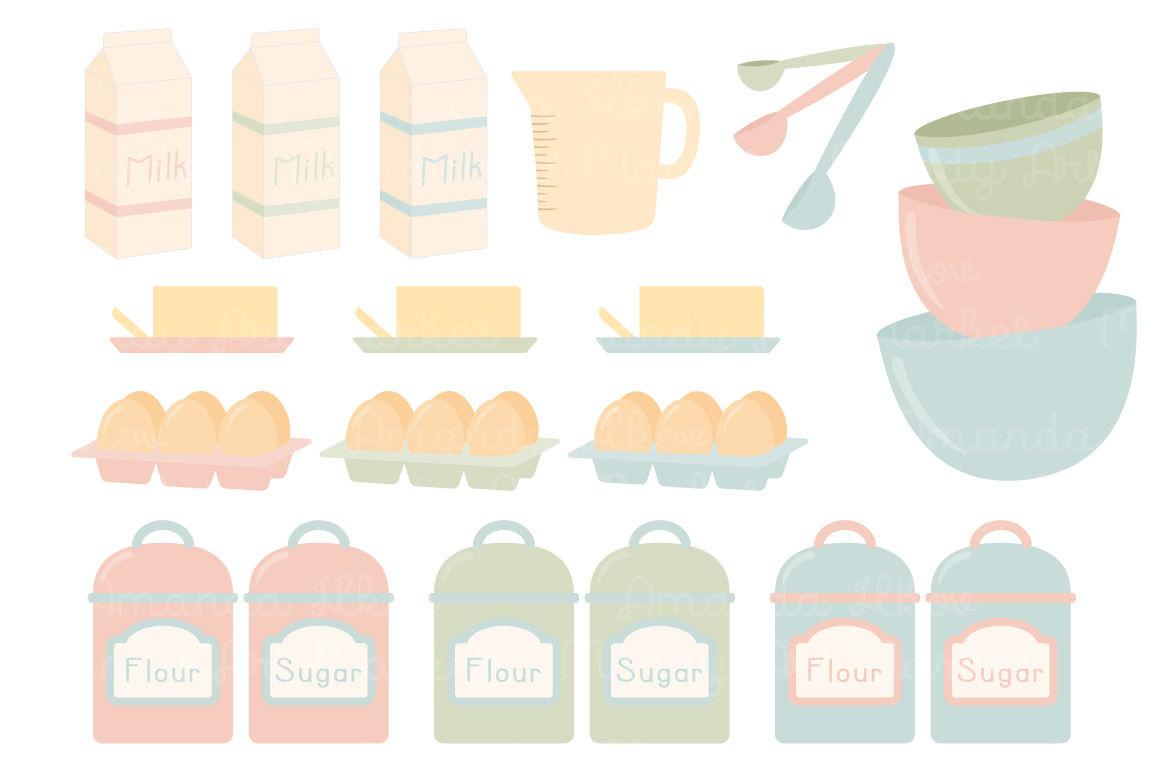 Pastel Baking Clipart Vectors By Amanda Ilkov Thehungryjpeg Com