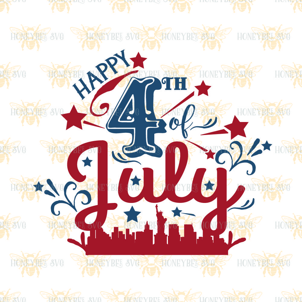 Happy 4th Of July New York City By Honeybee Svg Thehungryjpeg Com