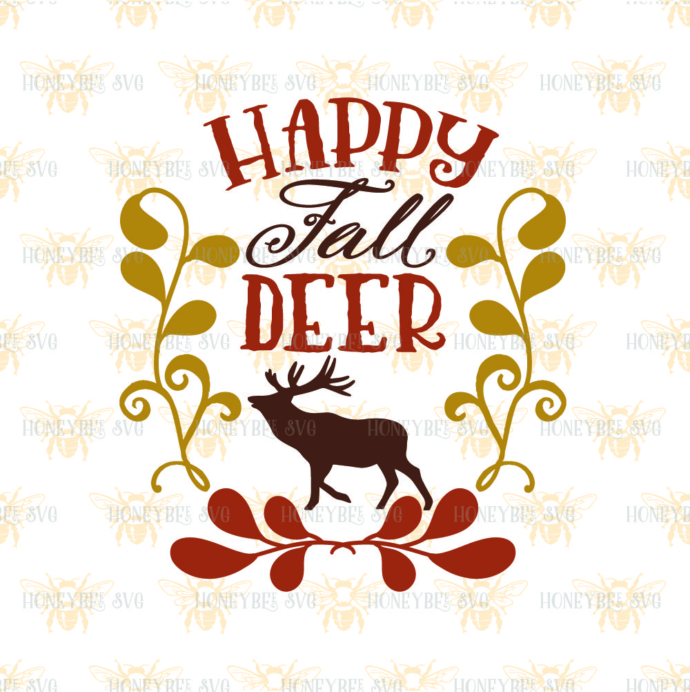 Happy Fall Deer By Honeybee Svg Thehungryjpeg Com