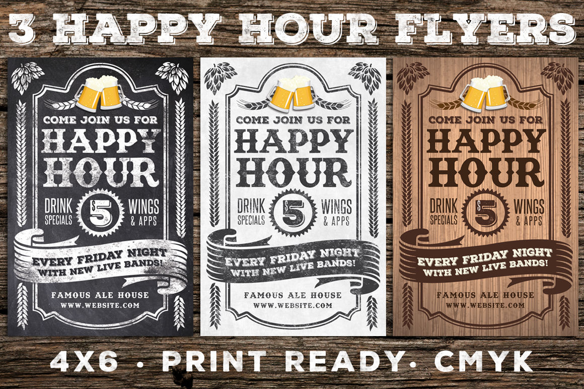 3 Vintage Happy Hour Flyers By Lucion Creative Thehungryjpeg Com