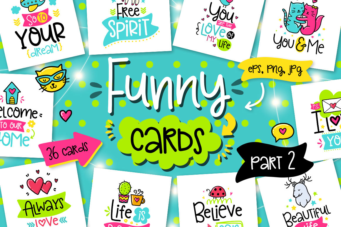 36 Funny Lettering Cards Collection By Qilli Design