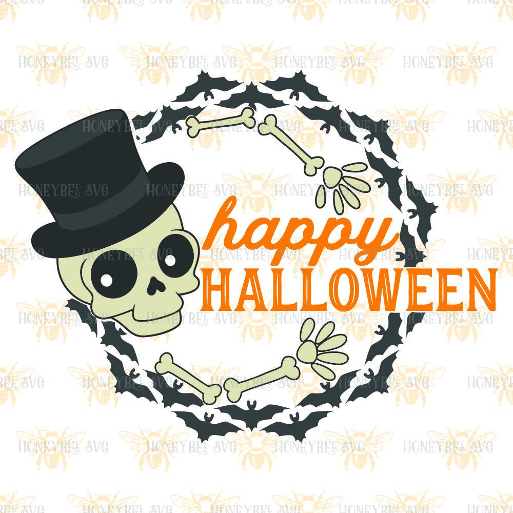 Happy Halloween Wreath By Honeybee Svg Thehungryjpeg Com