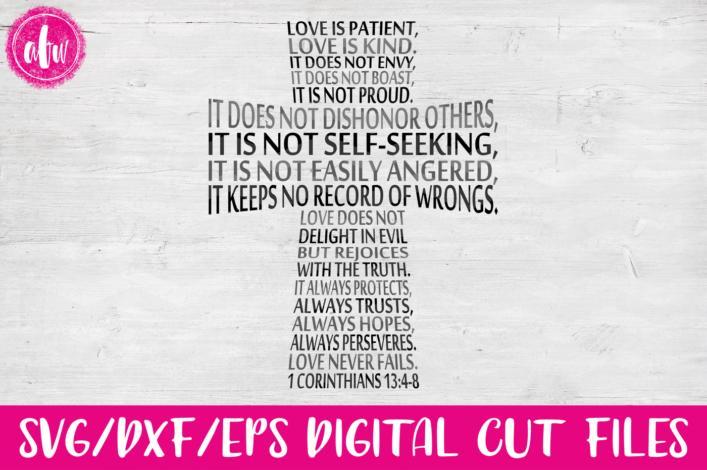 Love Is Patient Cross Svg Dxf Eps Cut File By Afw Designs