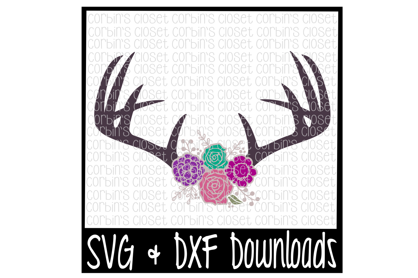 Floral Antlers Svg Antique Flowers Deer Antler Svg Cut File By