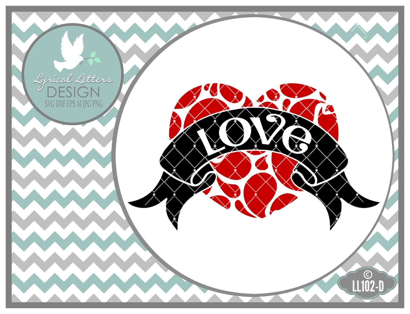 Love Heart With Banner Valentine S Day Ll102d Svg Dxf Eps Ai Jpg