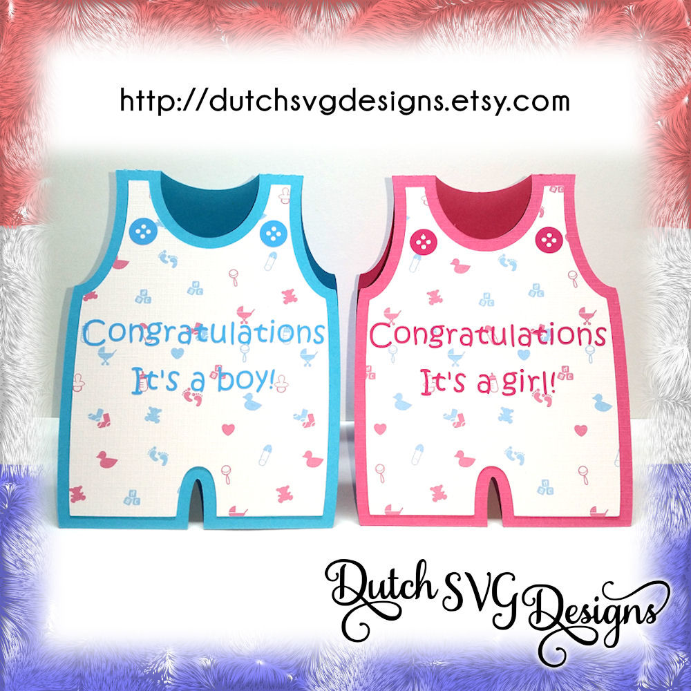 Birth Card Cutting File Baby Romper With Text And Buttons For A