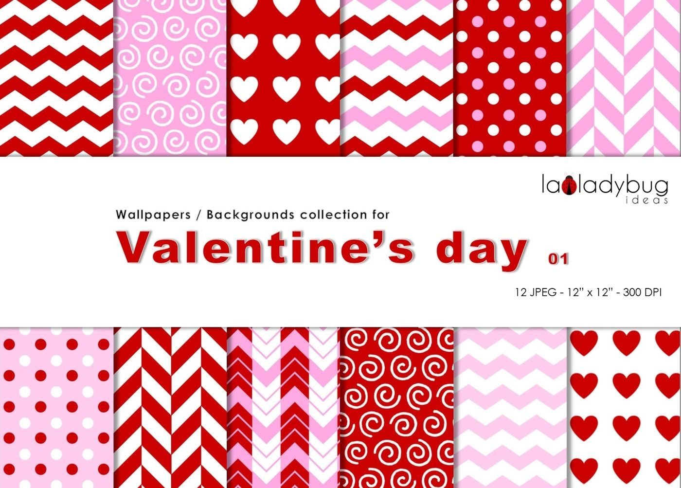 Valentine S Day Patterns Digital Papers Wallpapers Backgrounds