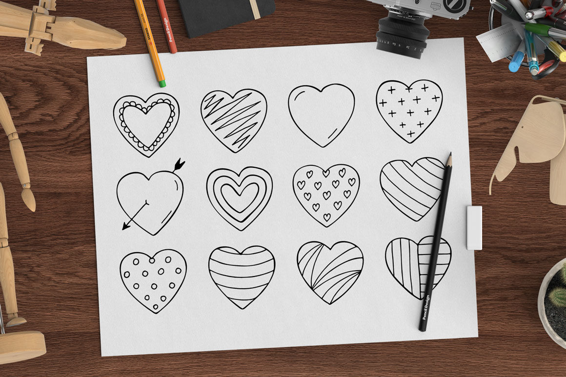 Hand Drawn Hearts Seamless Pattern By Expressshop
