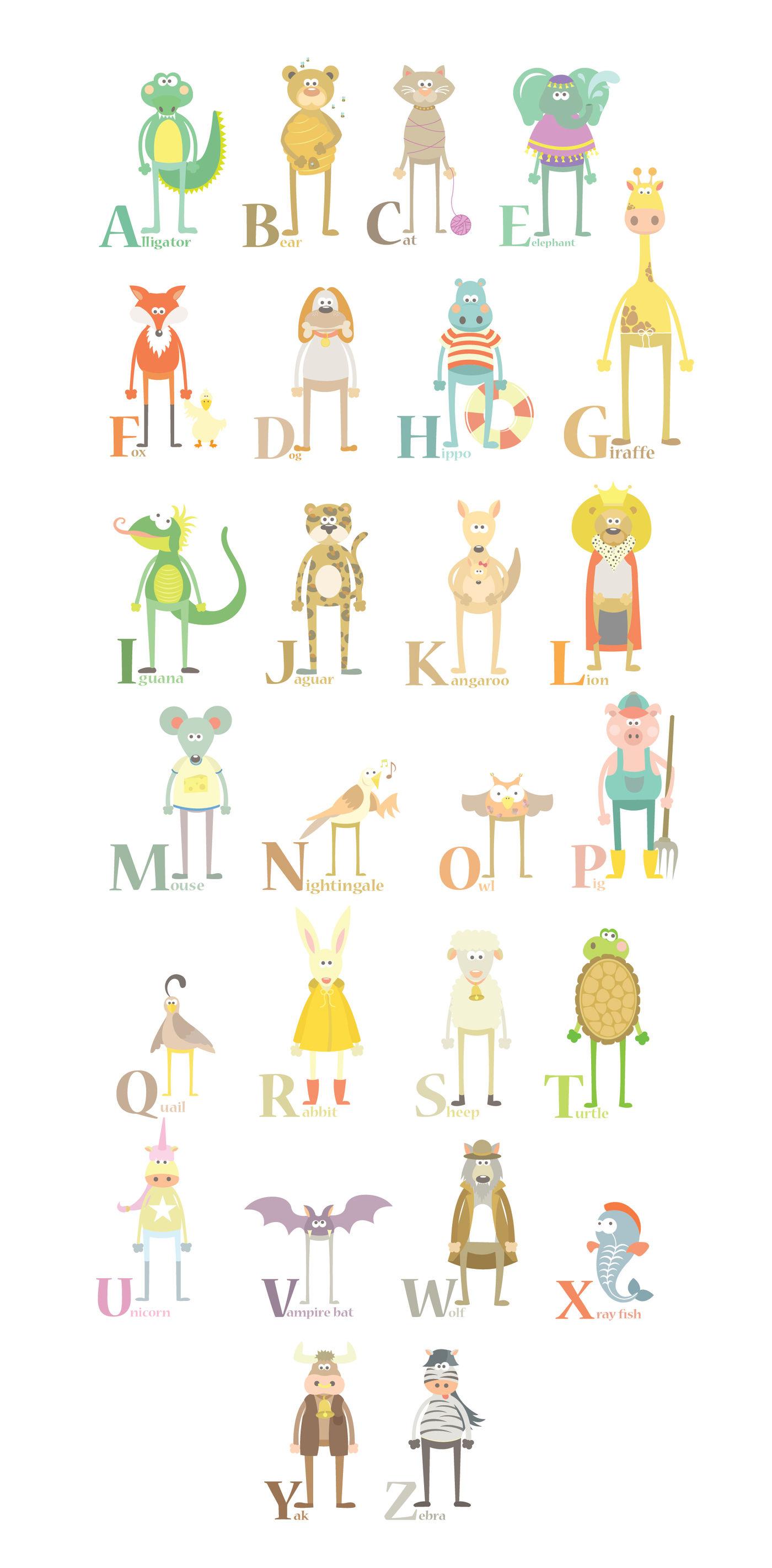 Animal ABC Clipart Cute Set By Julia Sunrain Graphics ...