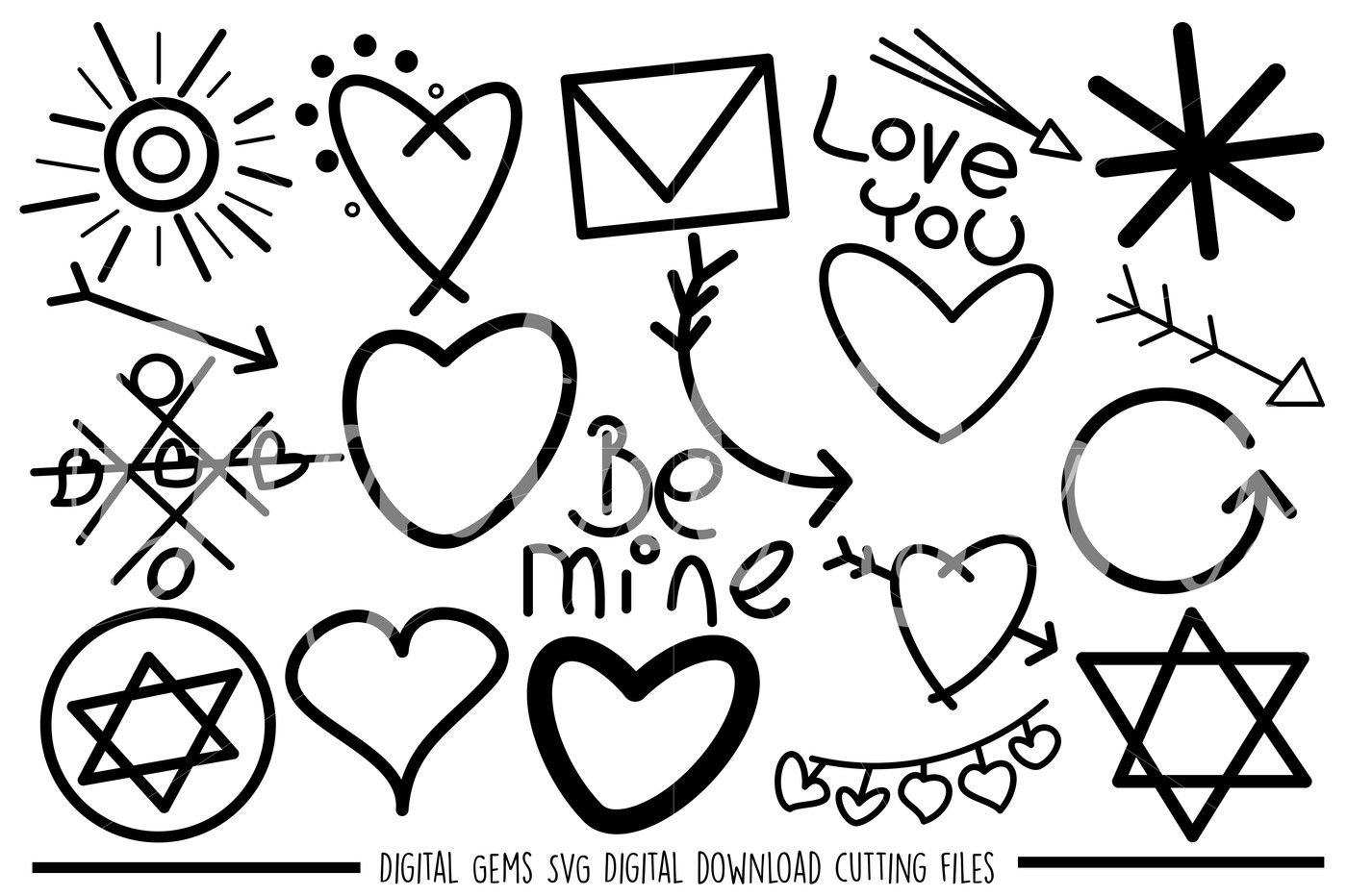 Doodle Hand Drawn Svg Dxf Png Files By Digital Gems