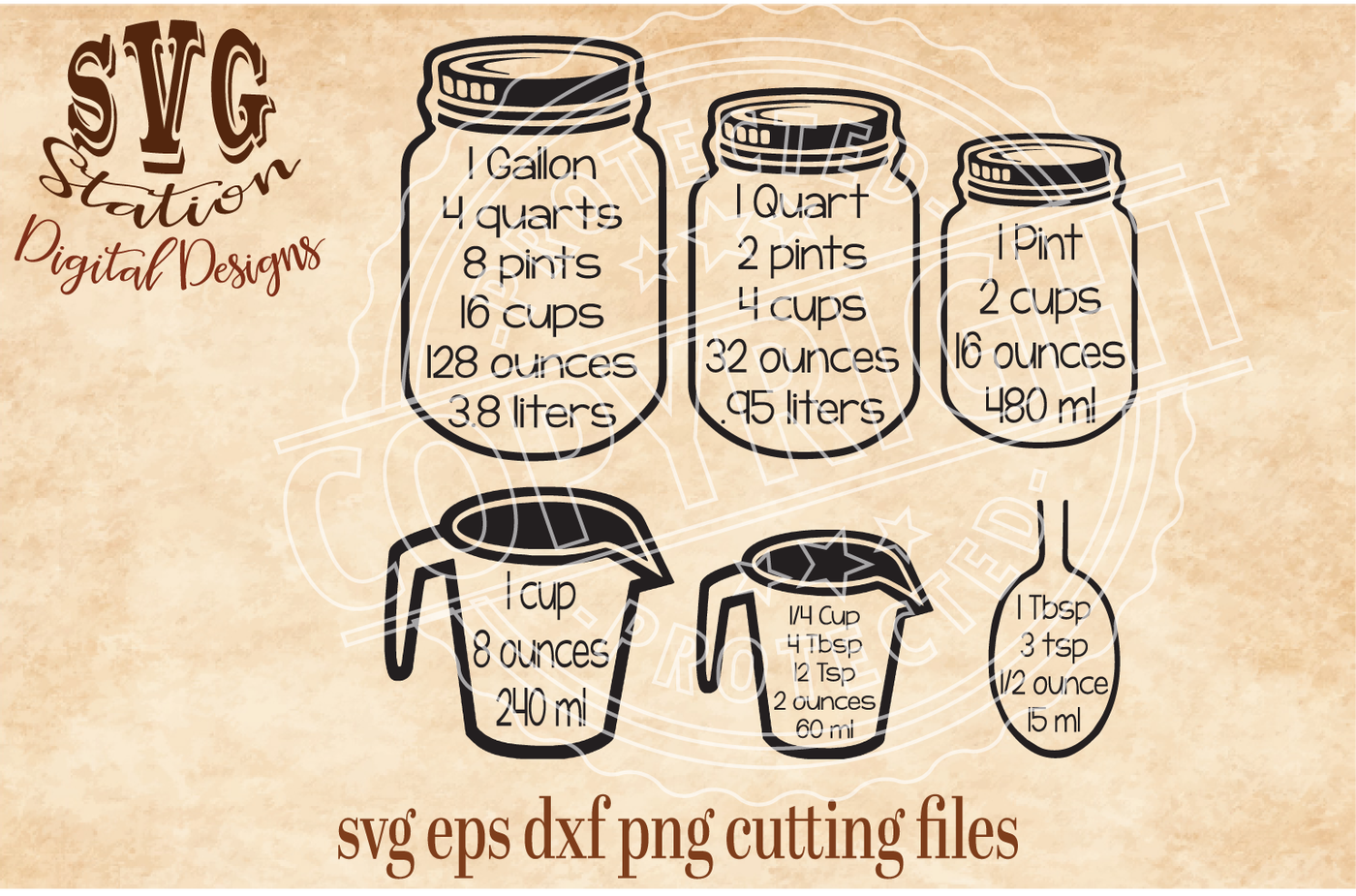 Common Kitchen Measurements Svg Dxf Png Eps Cutting File For
