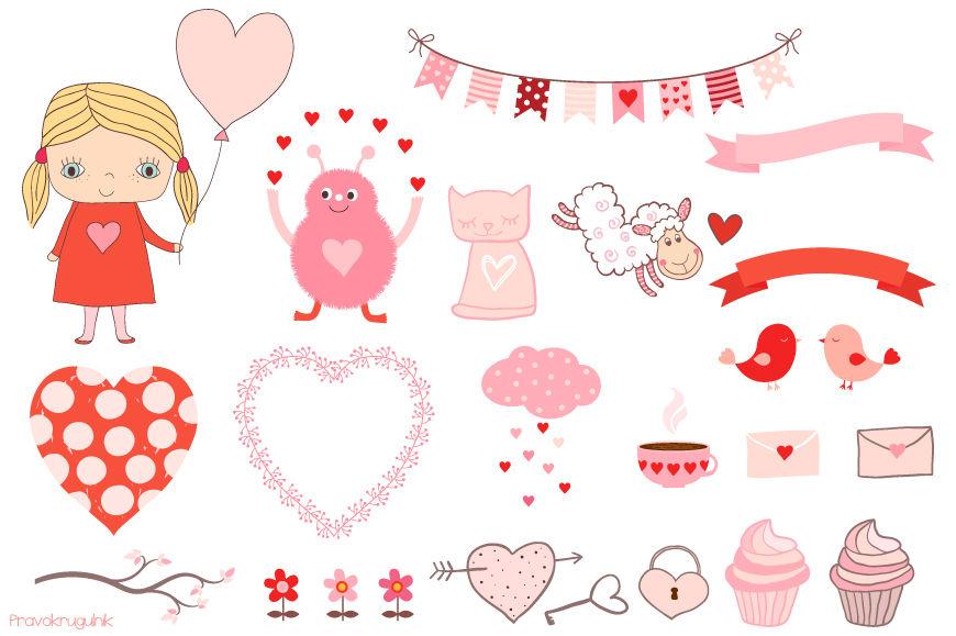 Cute Valentine clipart set, Kawaii love clip art ...