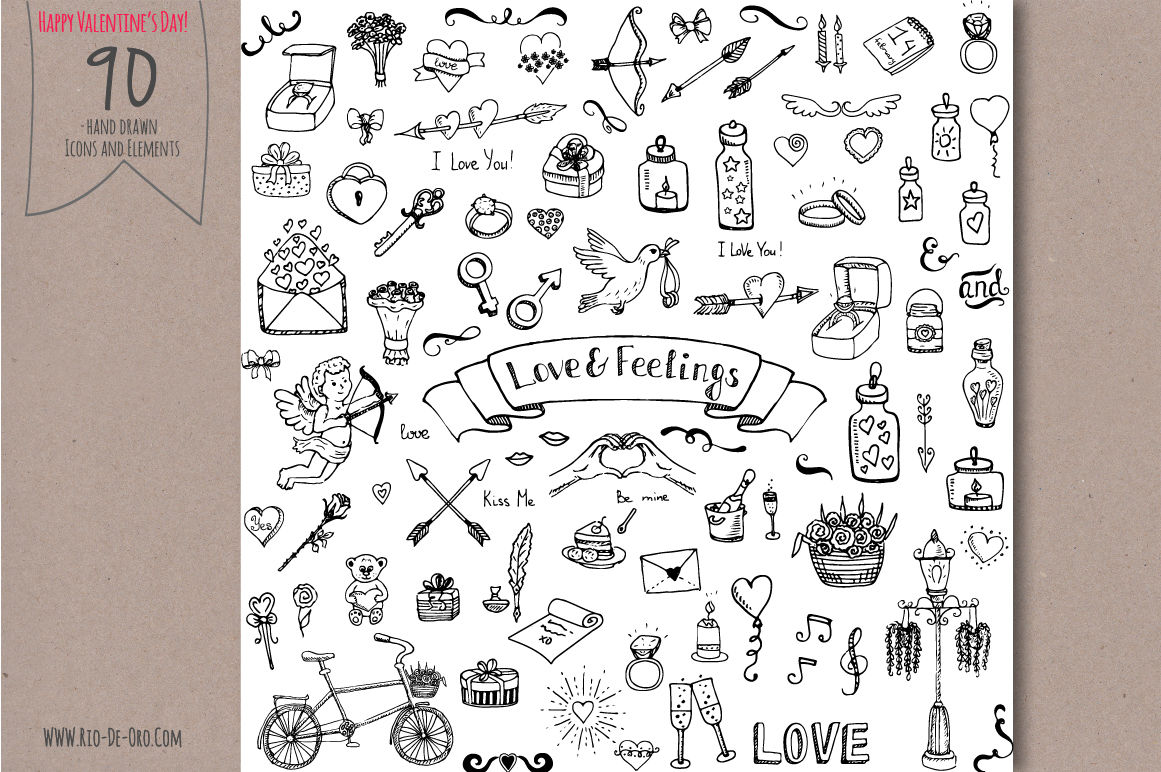 90 Hand Drawn Love Elements Symbols By Natasha Pankina