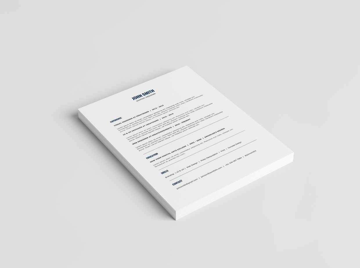 minimalist resume template   cover letter template