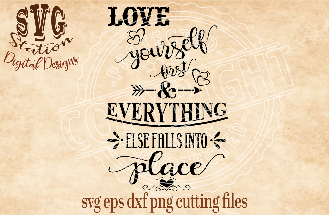 Love Yourself First And Everything Else Falls Into Place Svg Dxf Png Eps Cutting File Silhouette Cricut By Svg Station Thehungryjpeg Com