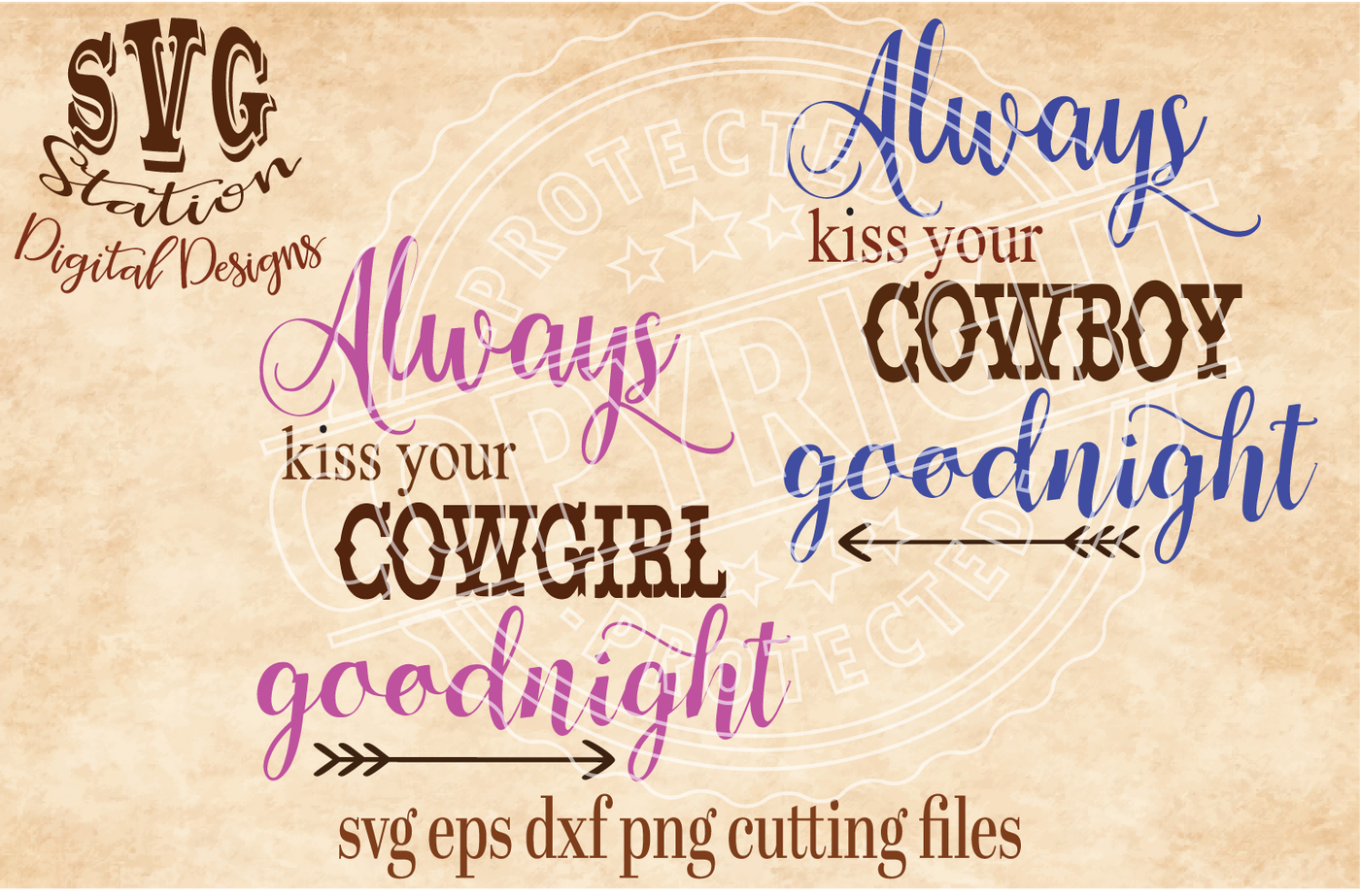 Always Kiss Your Cowboy Cowgirl Goodnight Svg Dxf Png Eps Cutting File Silhouette Cricut By Svg Station Thehungryjpeg Com