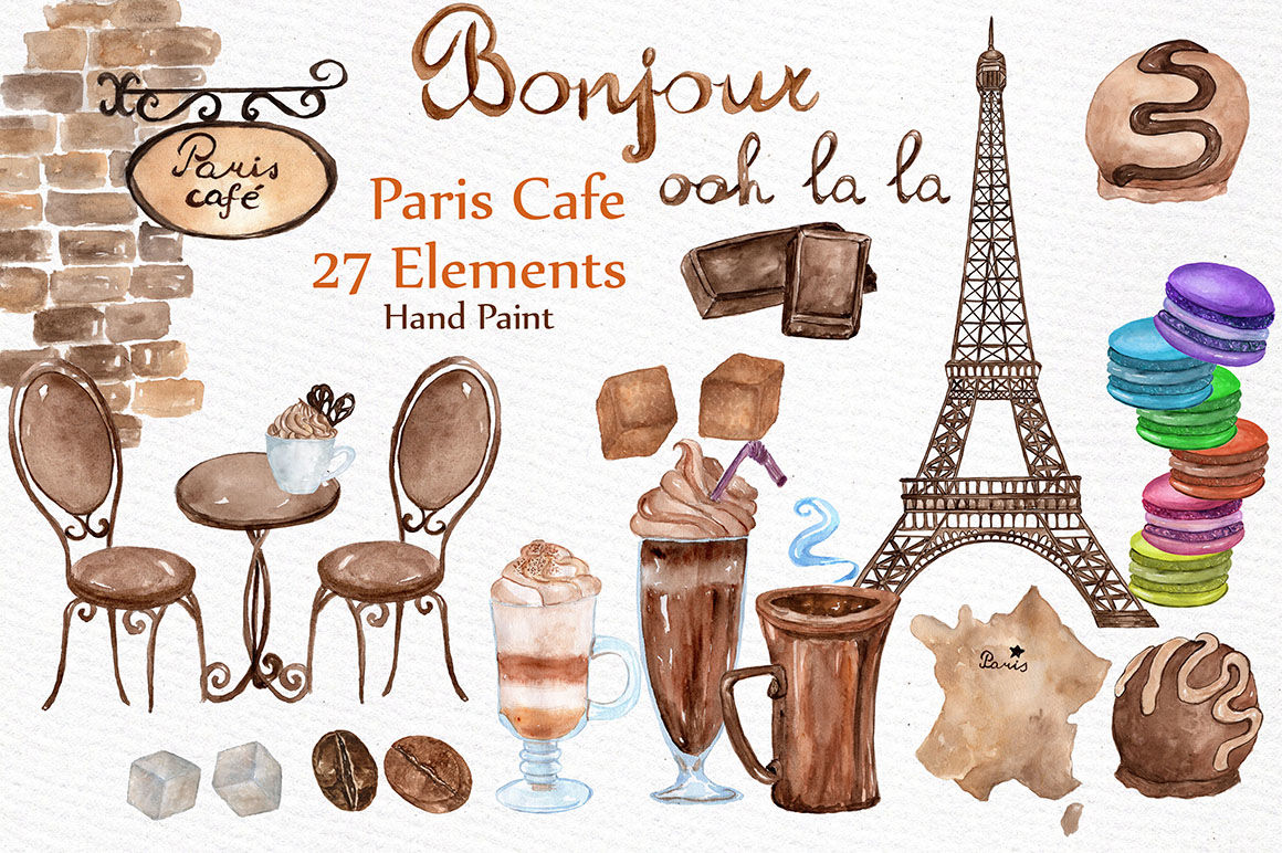 Watercolor Paris Cafe Clipart By Lecoqdesign Thehungryjpeg Com