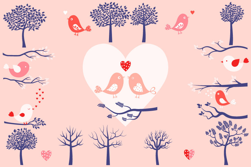 Love Birds Clipart Set Bird And Tree Clip Art Branches