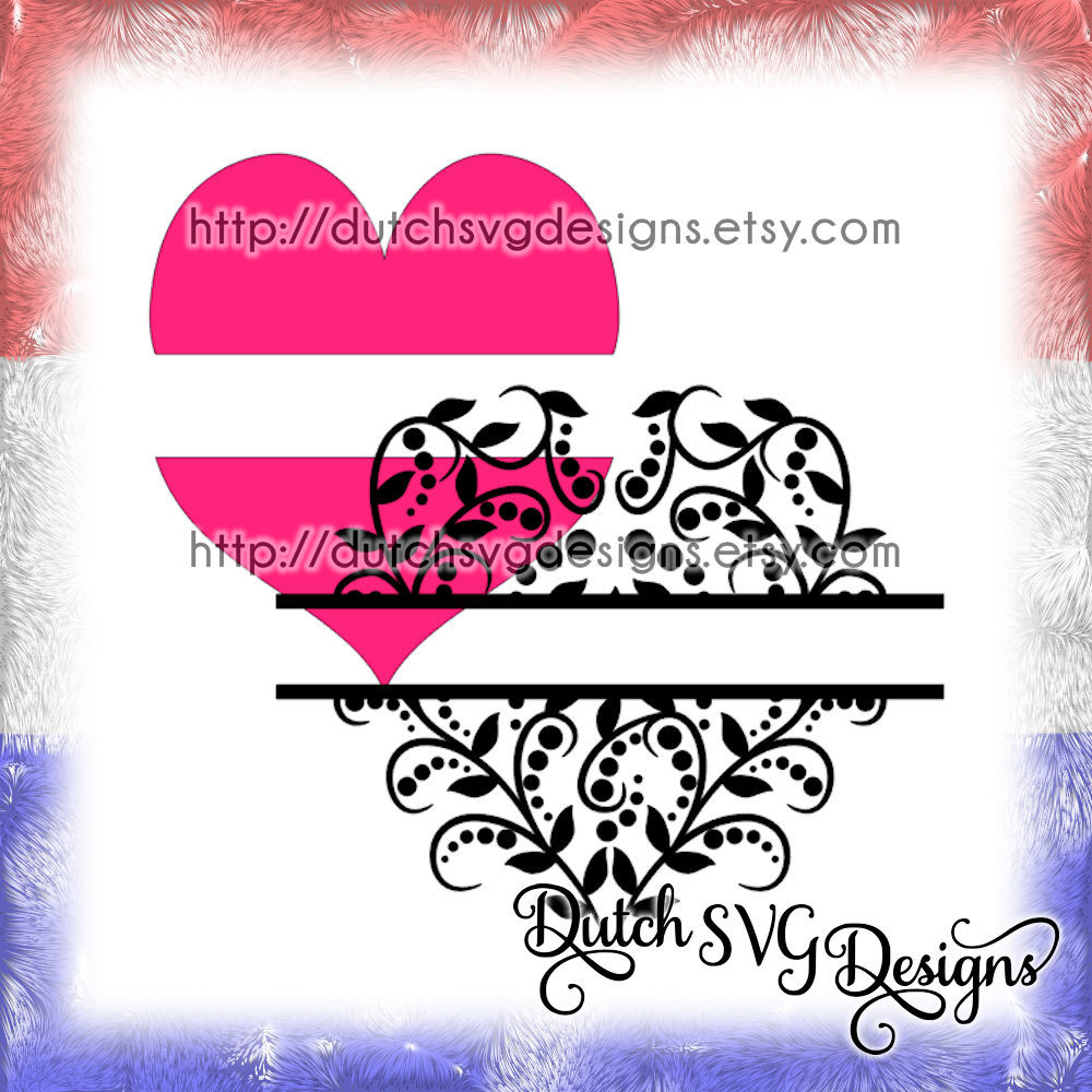 Decorative Heart Split Border For Monogram And Text In Jpg Png Svg Eps Dxf For Cricut Silhouette Valentine S Day Love Diy Swirl Doodle By Dutch Svg Designs Thehungryjpeg Com