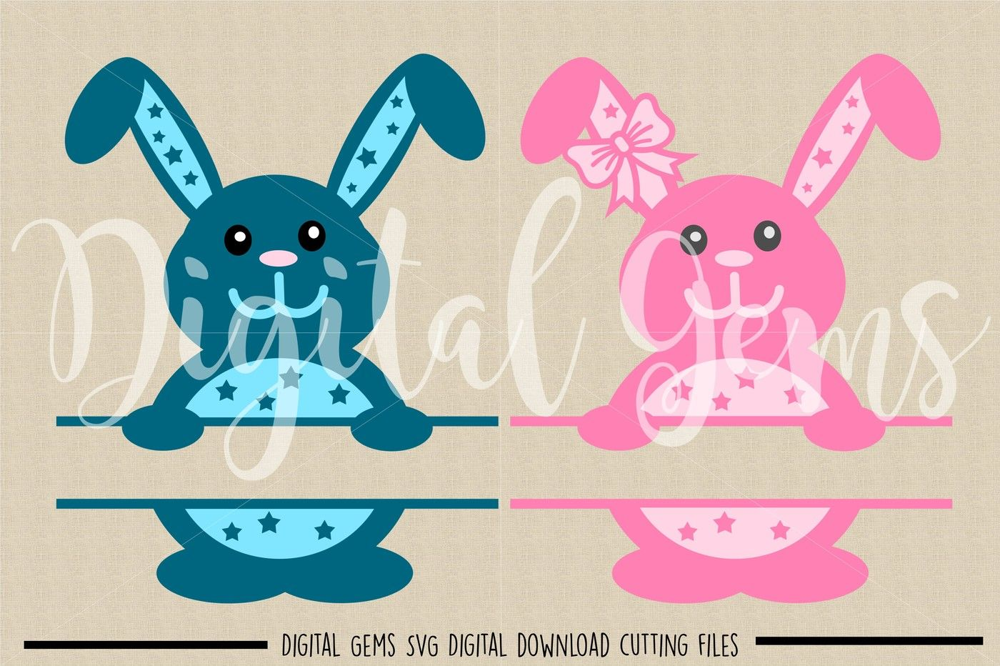 Split Easter Bunny Svg Dxf Eps Png Files By Digital Gems Thehungryjpeg Com