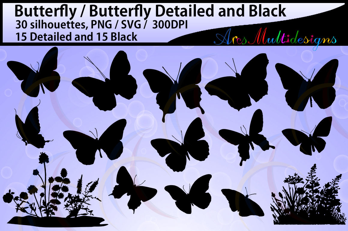 Butterfly Silhouette Vector By Arcsmultidesignsshop