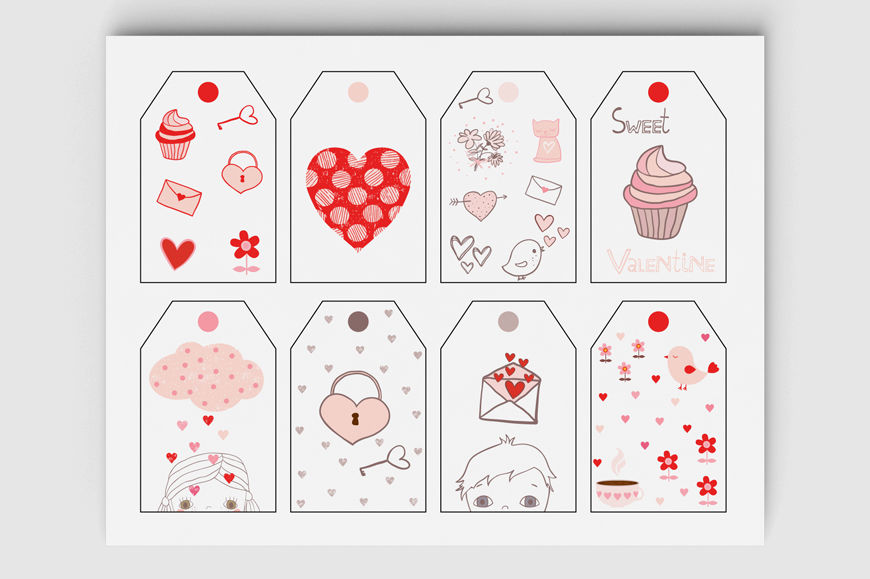 image relating to Cute Gift Tags Printable named Printable Valentine tags, Lovely Valentines working day reward tag
