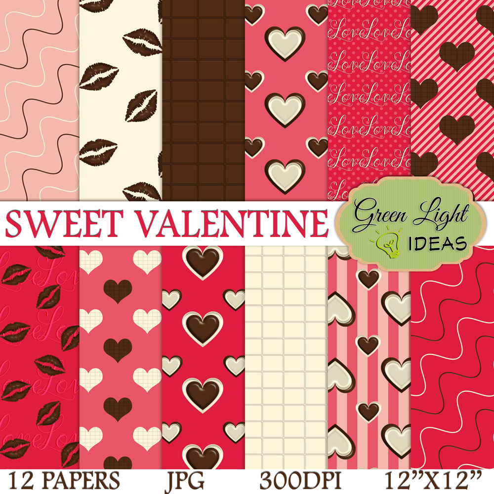 Sweet Valentine Digital Papers By Green Light Ideas Thehungryjpeg Com