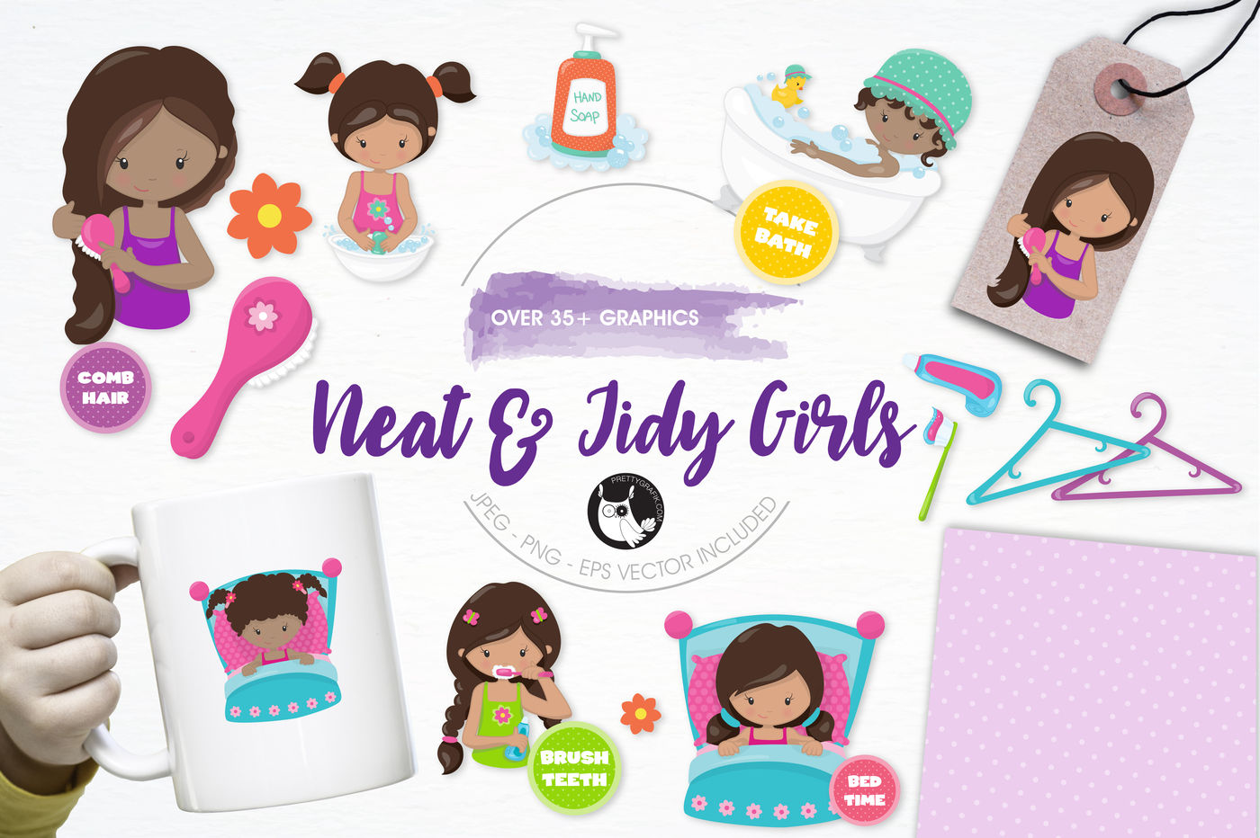 Neat Tidy Girls Graphics And Illustrations By Prettygrafik