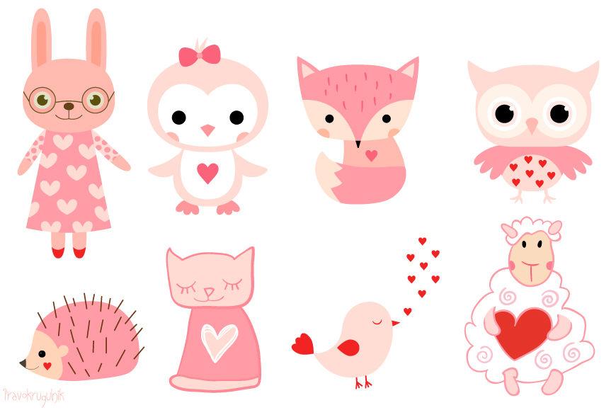 Valentine animals clipart set, Cute pink animal clip art ...