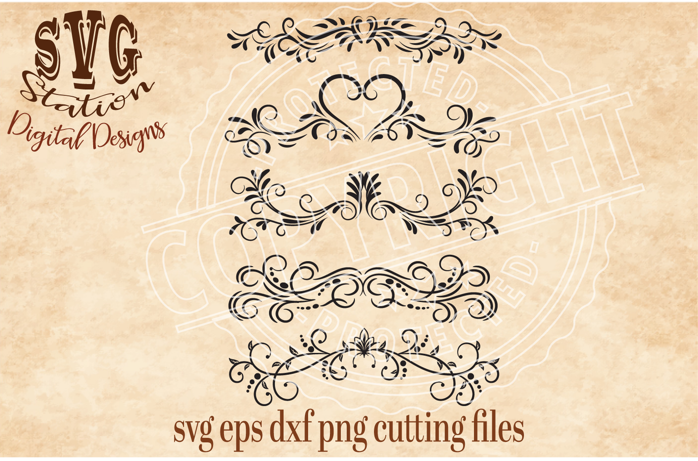 Download Ornamental Flourish Borders / SVG DXF PNG EPS Cutting File ...