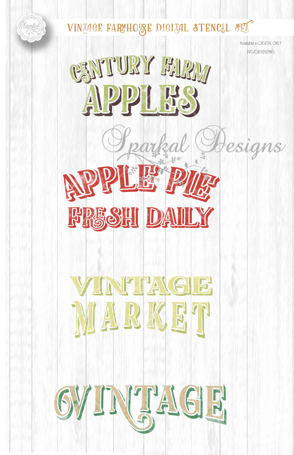 Bundle Of Vintage Country Farm Designs For Wood Sign Stenciling