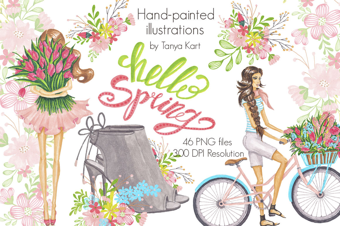 Hello Spring Hand-painted Clipart By Tanya Kart ...