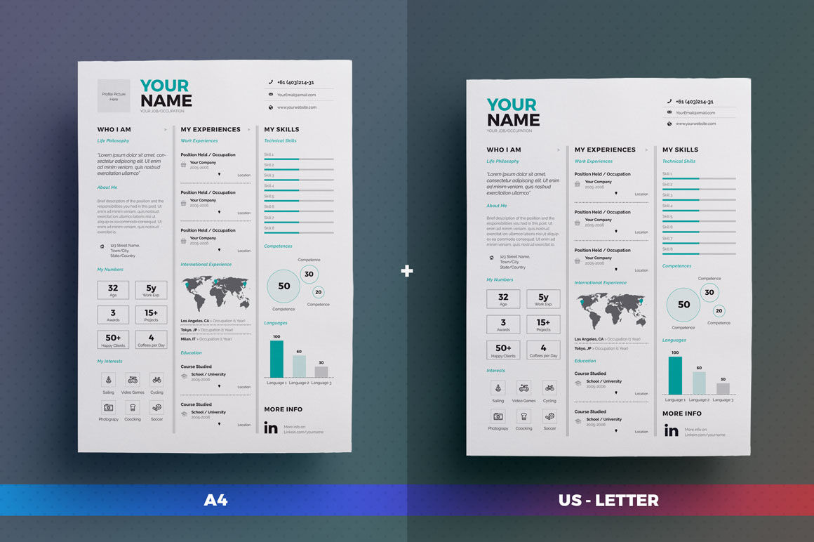 Infographic Resume Cv Volume 7 Indesign Word Template By