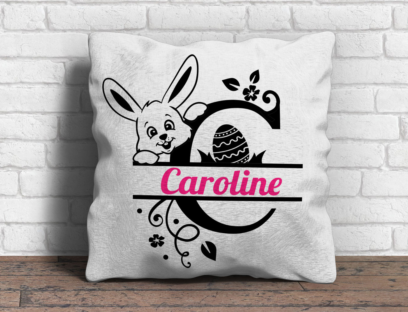 Easter Split Font With Bunny And Easter Egg By Blackcatssvg Thehungryjpeg Com