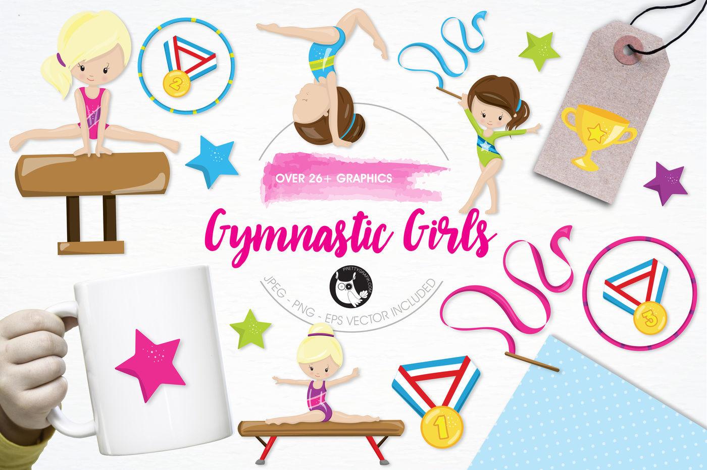 Gymnastic Girls Graphics And Illustrations By Prettygrafik Design