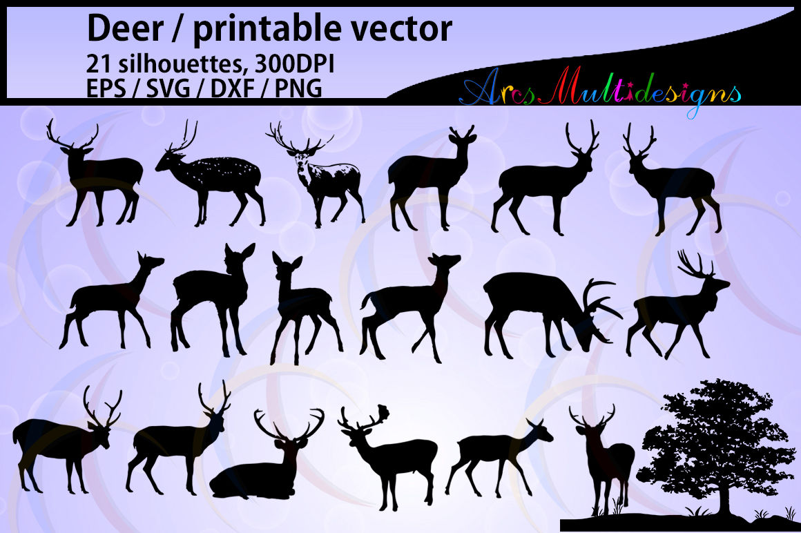 Deer Silhouette Vector Autumn Deer And Antler Silhouette Svg By