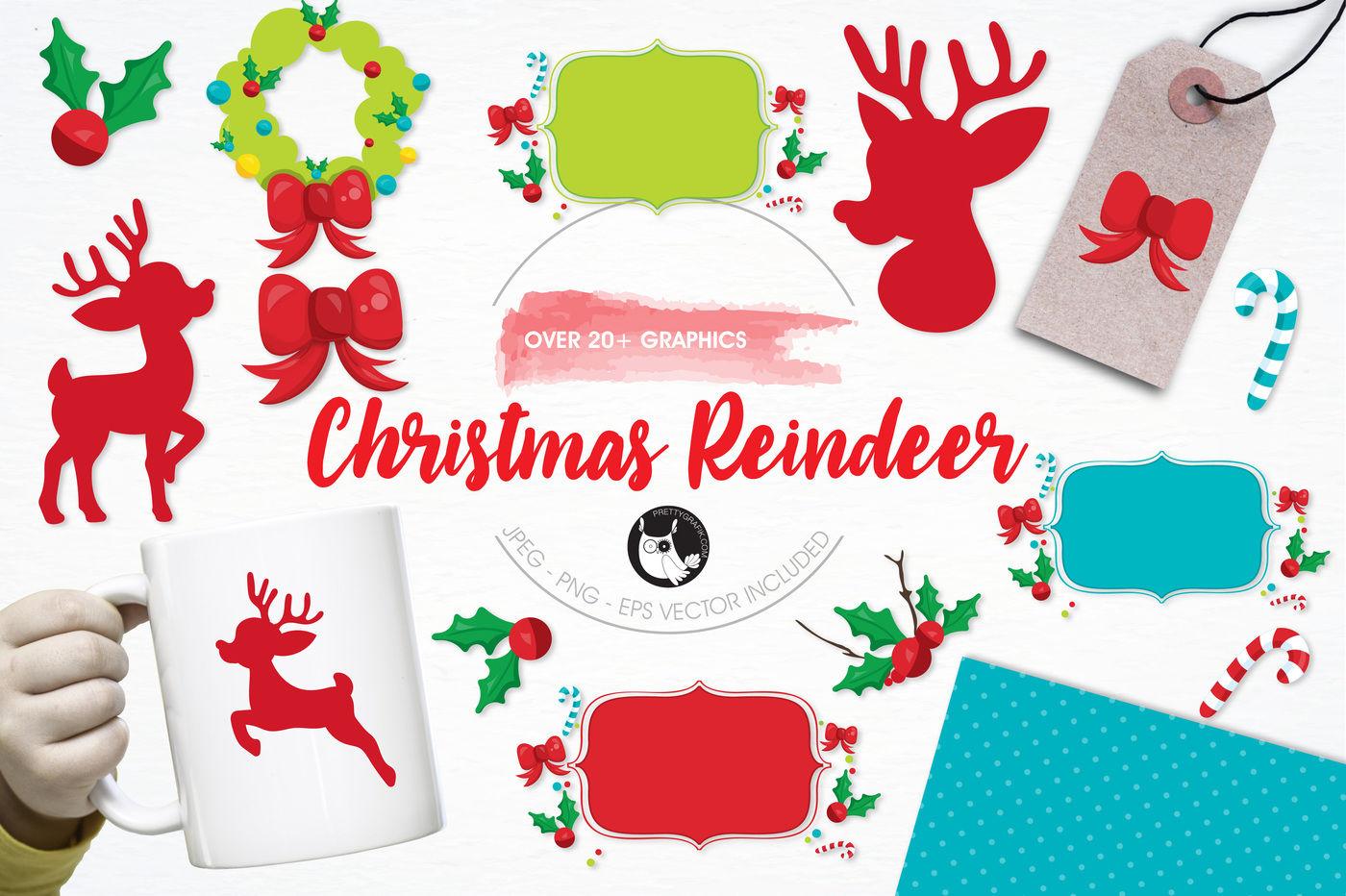 Christmas Reindeer Graphics And Illustrations By Prettygrafik
