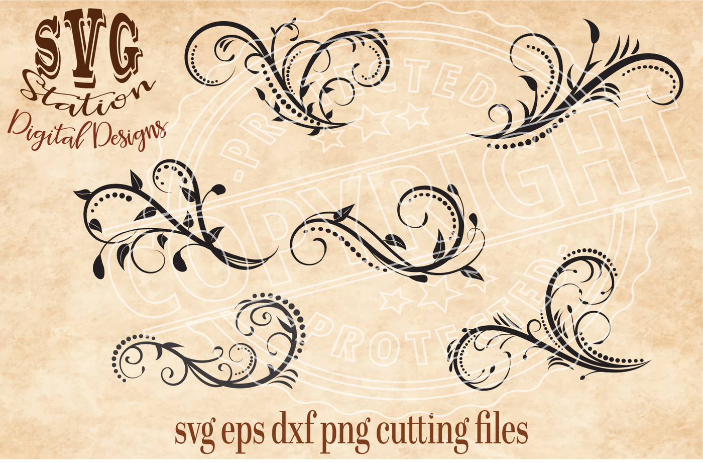 Six Ornamental Flourish Swirls Svg Dxf Png Eps Cutting File Silhouette Cricut By Svg Station Thehungryjpeg Com