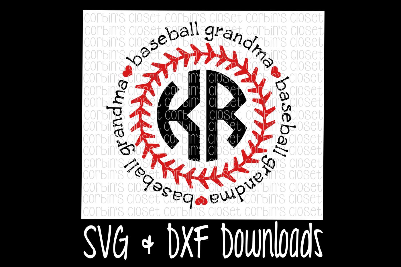 Baseball Grandma Svg Baseball Grandma Circle Monogram Cut File