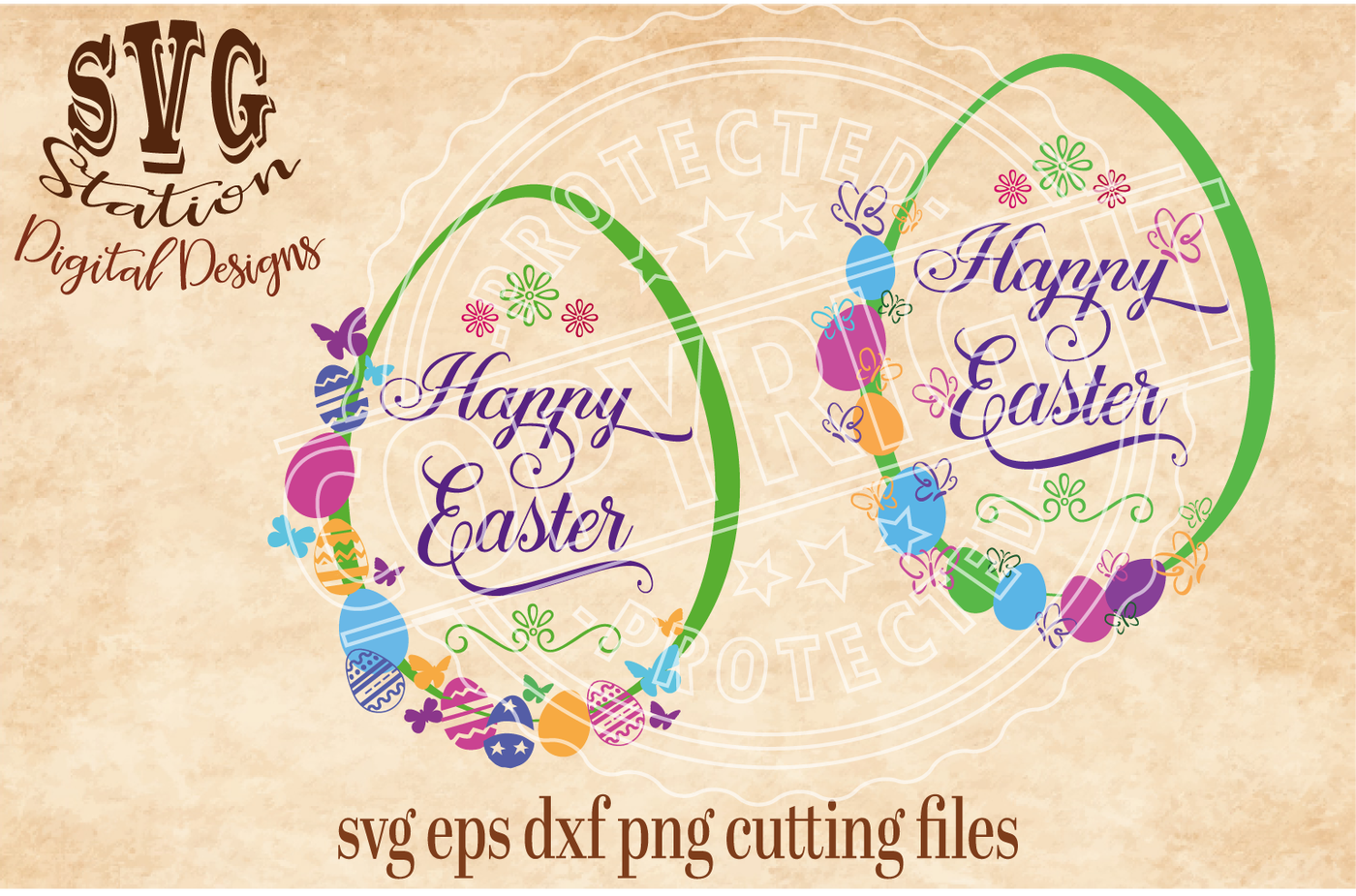 Happy Easter Eggs With Butterflies Svg Dxf Png Eps Cutting File