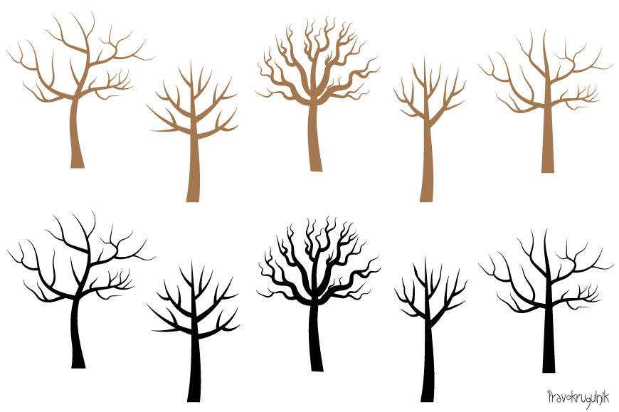 Bare tree clipart, No leaves trees clip art set, Tree ...