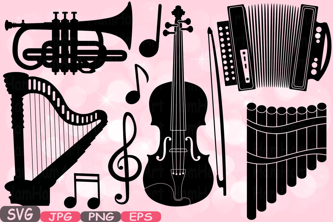 Music Instruments Silhouette SVG Music note SVG Printable