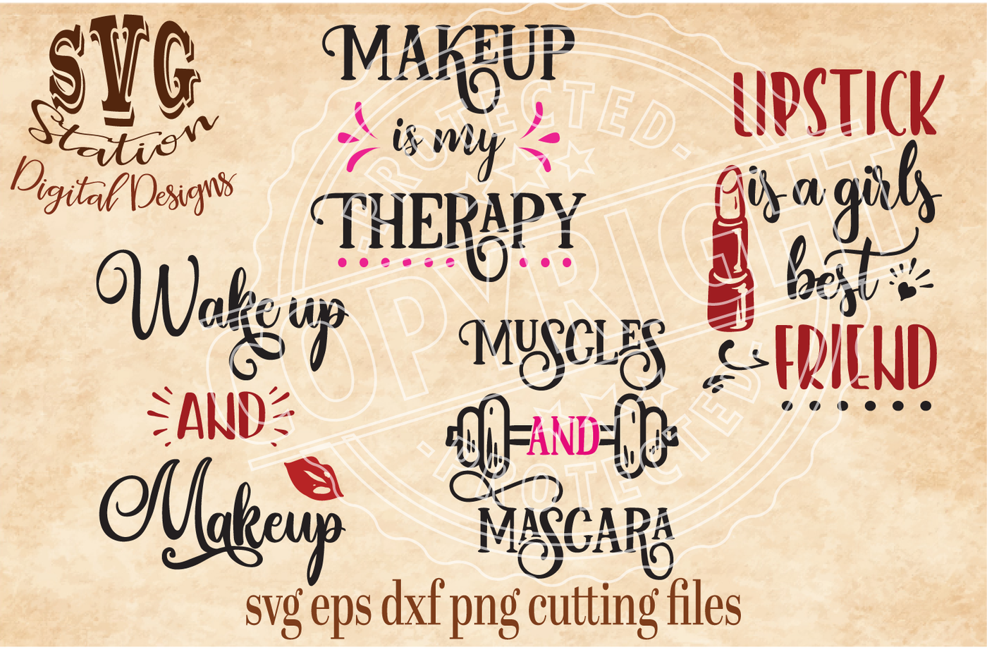 Lipstick Makeup Muscles Svg Dxf Png Eps Cutting File Silhouette