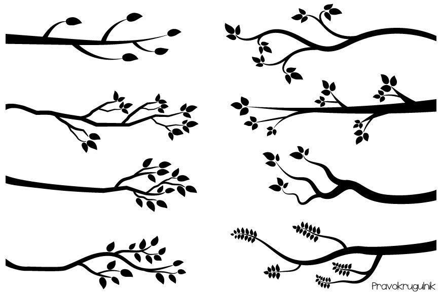 Tree Branch Clip Art Black and White