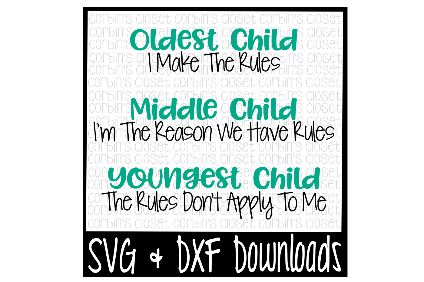 Sibling Svg Oldest Child Middle Child Youngest Child Cut