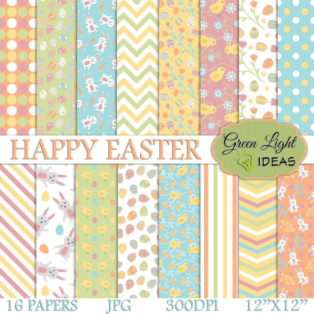Easter Digital Papers Easter Backgrounds By Green Light Ideas