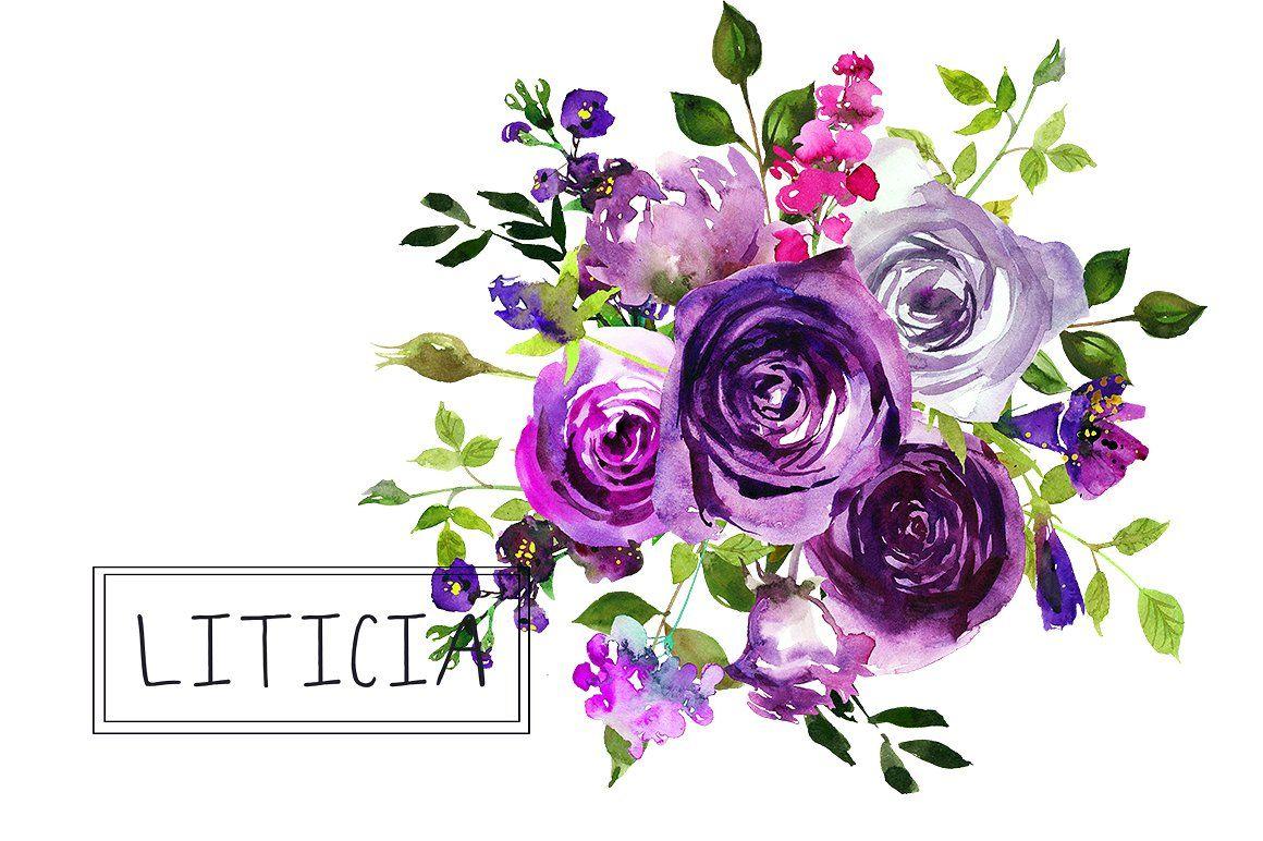 Purple Flowers Watercolor Bouquets Clipart By ...
