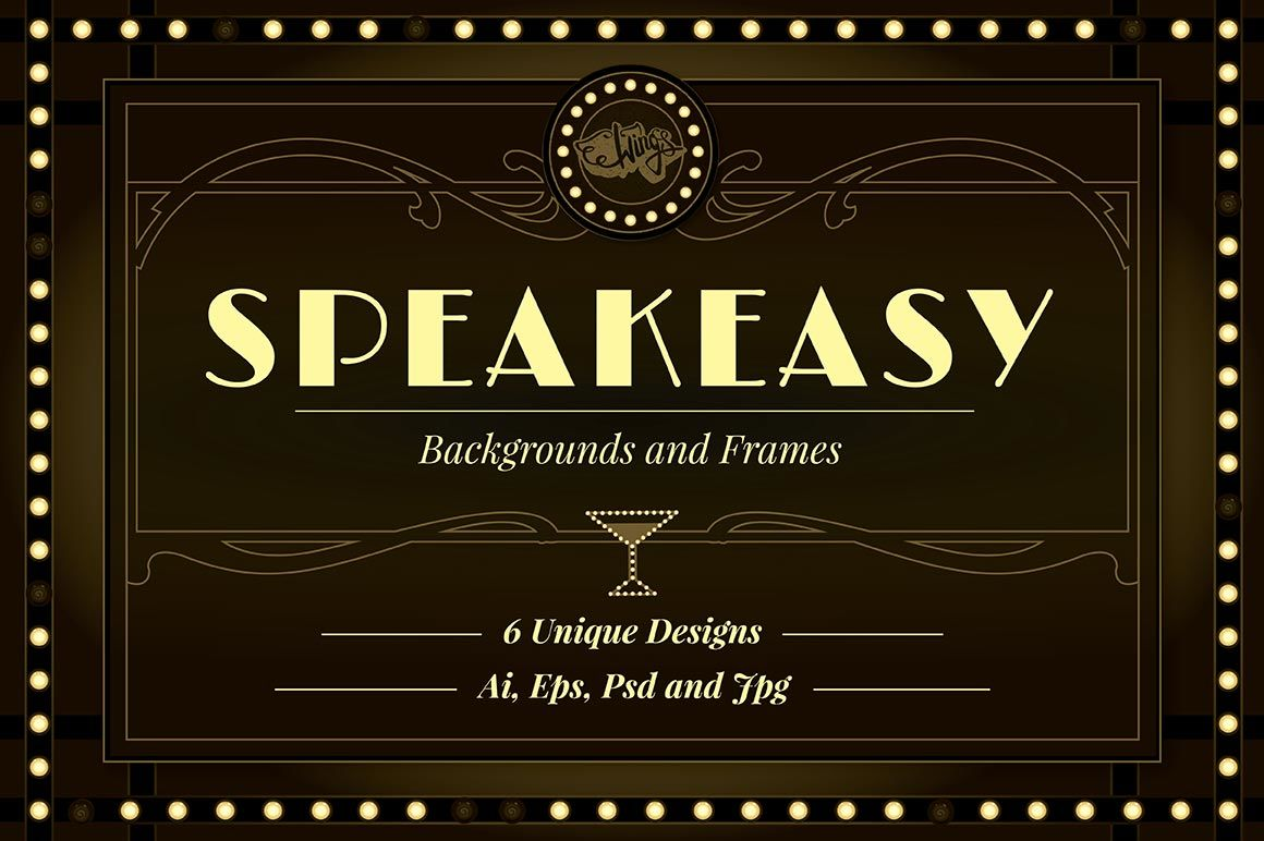 Speakeasy Backgrounds And Frames By Wingsart Thehungryjpeg Com