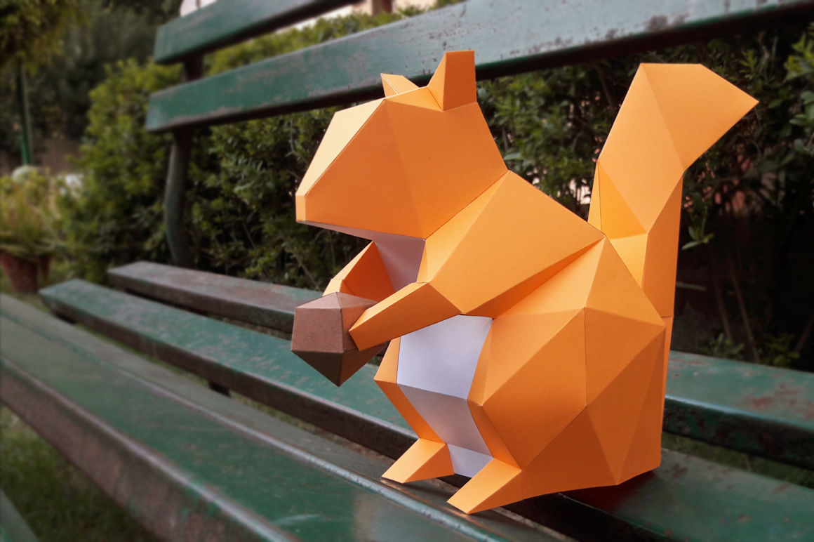 picture about Printable 3d Paper Crafts titled Do it yourself Squirrel (Printable) - 3d papercrafts Through PAPER amaze