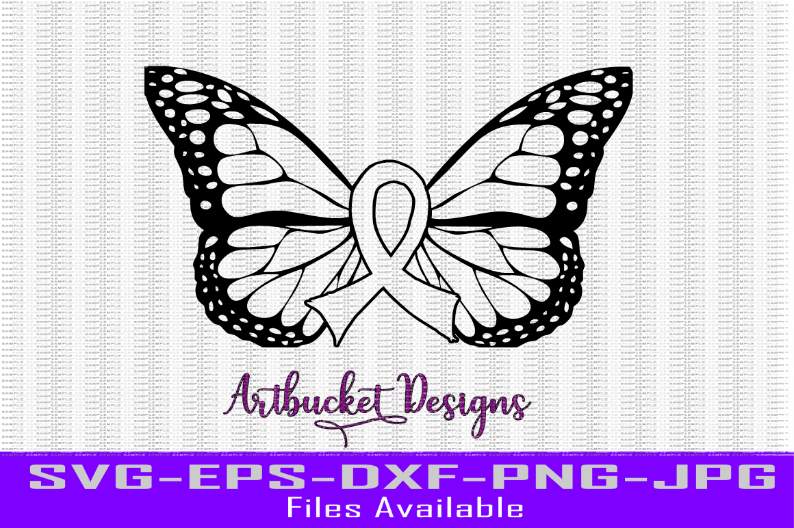 Cancer Ribbon Butterfly By Artbucket Designs Thehungryjpeg Com